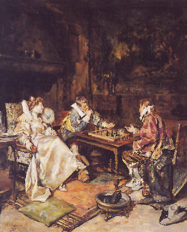 1880s A Game of Chess by Maximo Caballero.jpg